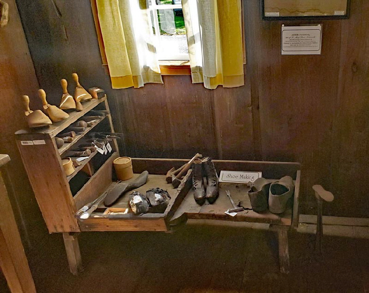 CHAOS ROOM: Special exhibit of shoemaking and repairing tools.